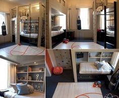 I love this room for boys. It is a room that either a 9 year old or a teen would enjoy being in.
