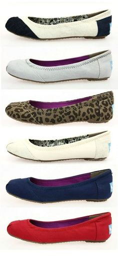 I have the leopard print and a canary yellow pair...would welcome any solid or print Toms ballet flat.