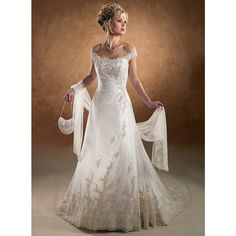 A-line/Sheath Off shoulder Appliques/Lace/Ruching Empire Cathedral train Chiffon Wedding Dresses S3042 - Ivory - A-line - Chiffon