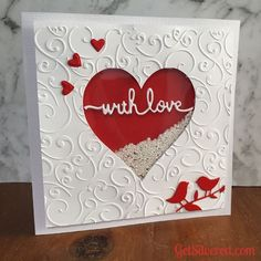 Shaker Heart Valentine Card : Heart Shaker Card with Cutting Files Valentine Love Cards, Valentine Crafts, Valentine Heart, Handmade Valentines Cards, Homemade Valentine Cards, Valentine Nails, Valentine Ideas, Scrapbooking Diy, Cricut Cards