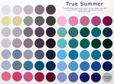 The True Summer Color Palette~ please do take in to consideration that the colors may vary slightly from the original due to the translation from the canvas to your computer screen.