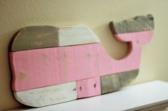 Wooden Whale - Wall Art - Reclaimed Pallet Whale - Pink Whale - Nautical Girls Nursery