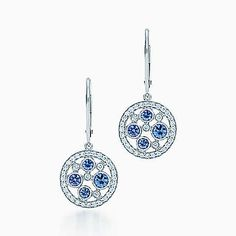Tiffany Cobblestone earrings in platinum with Montana sapphires.
