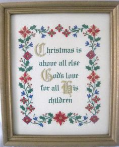 """Perfect for the holidays! Completed Embroidery Christmas Always All Else God Love Framed Sz 9 3/8""""X11 1/4"""" #RayRaysRetroage"""
