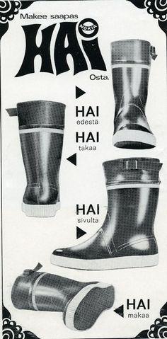 Nokian Hai-saappailla kulki suomalainen nuoriso 70-luvulla säällä kuin säällä. Vintage Ads, Vintage Posters, Old Commercials, Good Old Times, Long Time Ago, Prince Caspian, Comfortable Outfits, Finland, Childhood Memories