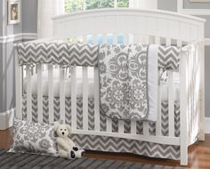 Gray Chevron 4 Piece Crib Bedding Set from www.twinkletwinklelittleone.com
