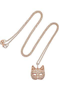 18-karat Rose Gold Diamond Cat Mask Necklace by Anita Ko