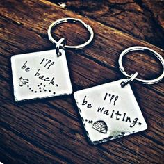 bee and hive long distance love keychain set. I'll be back. I'll be waiting. best gift ideas for long distance relationship couple (Christmas gifts for long distance boyfriend)