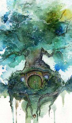 Hobbit, Oak Tree by Kinko-White Fantasy Kunst, Fantasy Art, Watercolor Trees, Watercolor Paintings, Art Paintings, Watercolour, Indian Paintings, Watercolor Portraits, Watercolor Landscape