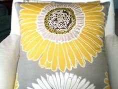 Yellow gray throw pillows
