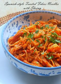 Spanish-style Toasted Fideos Noodles with Shrimp