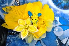 Yellow Minun Inspired Pokemon Fascinator 1, Yellow Hair flower, Geeky, Decora, Cosplay, Yellow Hair Clip, Pokemon Accessory, Kawaii, Lolita