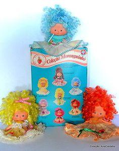 Moranguinho (Strawberry Shortcake) Sorvetinho de Fraboesa (little raspberry) Balinha (a brazilian candy) Quindinzinho (Quince) Sorvetinho de Uva (Grape Sorbet) Sorvetinho de Limaozinho (Lime Sorbet) Sorvetinho de Maracuja (Passionfruit Sorbet) Party Dolls Brazil Strawberry Shortcake Dolls- moranguinho | eBay