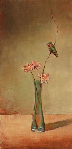 Hummingbird-and-Peach-Blossoms-24x12-2011-LMcNee-website
