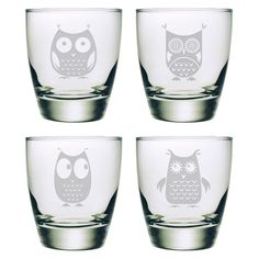 "Hibou double old fashioned classic cocktail glass ~ deeply sand etched owl designs into the glass surface by hand, 4""H x 3.5""D, set of 4"