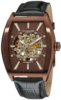 bf4162a1bae3 Amazon.com  Stuhrling Original Men s 182C3.336559 Leisure Millennia Master  Automatic Skeleton Bronze Tone Watch Set  Watches