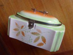 Grosse Deckeldose - Keksdose Art Deco Spritzdekor