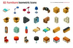 82 Furniture Isometric Icons by roundicons.com on @creativemarket