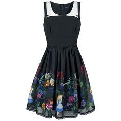 Golden Afternoon - Korte jurk van Alice In Wonderland dress black print zwart
