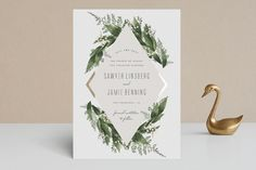 """""""Diamante"""" - Floral & Botanical, Rustic Foil-pressed Save The Date Cards in Forest by Leah Bisch."""