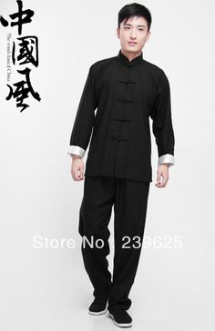 Bruce Lee Costume Fist of Fury Uniform Wing Chun kung Fu colthing set Tai Chi Martial Art Classic Black Long Jersey + Pants(China (Mainland)...