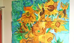 This mural was created by fourth grade students with tempra paint and oil pastels. Students each got a square cut from a large print and a s...
