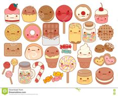 Collect cute baby sweet and dessert doodle icons, cute cakes, cute candies … – Graffiti World Cookies Et Biscuits, Kawaii Cookies, Candy Drawing, Cute Candy, Candy Sweet, Paper Dolls Clothing, Graffiti Cartoons, Teddy Bear Pictures, Softies