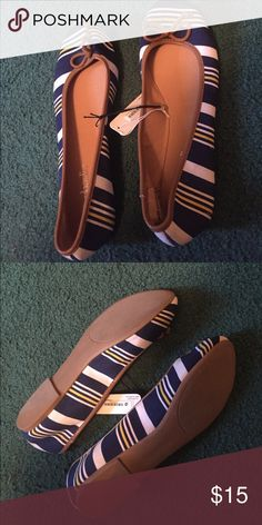 Brand new Charming Charlie flats Yellow, blue, and white striped flats from Charming Charlie! Never worn, still with tags. Didn't fit right, a little bit snug for my wide feet 😜 super cute though, only selling because they don't fit! Charming Charlie Shoes Flats & Loafers
