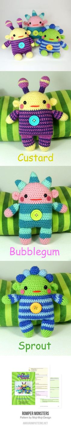Romper Monsters amigurumi pattern by Janine Holmes at Moji-Moji Design