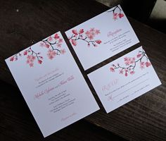Printable Cherry Blossom Invitation, RSVP and Reception. $40.00, via Etsy.