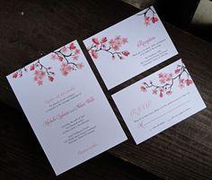 Printable Cherry Blossom Invitation, RSVP and Reception. $40.00, via Etsy.