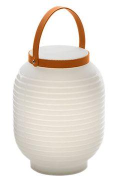 Honey Wireless lamp - Wireless White / Beige leather handle by Serralunga