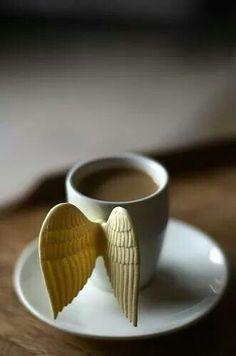 Angel wing handle coffee mug