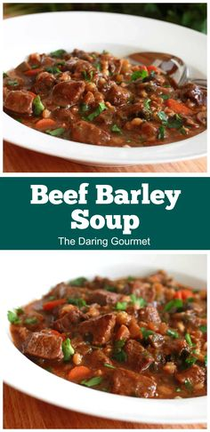 This wholesome and nutritious Beef Barley Soup is packed with FLAVOR! Easy to make and great for leftovers, it's sure to become a part of your regular meal rotation! Soup Recipes, Dinner Recipes, Cooking Recipes, Oven Cooking, Cooking Ideas, Lunch Recipes, Appetizer Recipes, Beef Recipes, Dinner Ideas
