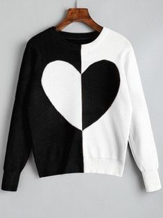 Pullover Two Tone Heart Sweater - Black Casual Work Outfits, Stylish Outfits, Cool Outfits, Fashion Outfits, Cardigans For Women, Blouses For Women, Jackets For Women, Cozy Fashion, Trendy Fashion