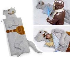 Star Wars Tauntaun Sleeping Bag Desperate times call for desperate measures – the only way to survive the cold night is to use your lightsaber to cut open this Tauntaun and use it as a blanket! This Tauntaun sleeping bag is great for geeky sleepovers and makes a cool gift for Star Wars fans.