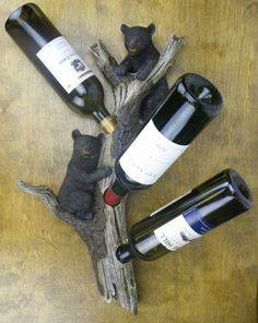 Black Bear Wall Mounted Wine Bottle Holder