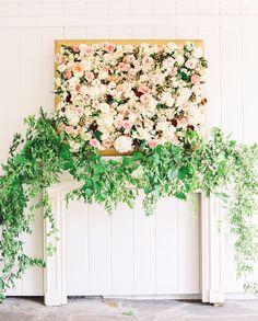 vintage wedding decor Wedding Inspiration - Style Me Pretty Flower Wall Wedding, Garland Wedding, Wedding Ceremony, Wedding Flowers, Wedding Decorations, Decor Wedding, Wedding Arches, Floral Wedding, Spring Wedding Colors