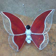 Stained Glass Butterfly with glass nugget body