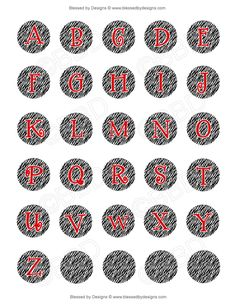 Only Zebra Print Letters A-Z | ... of bottle cap graphics includes alphabet letters a z plus an