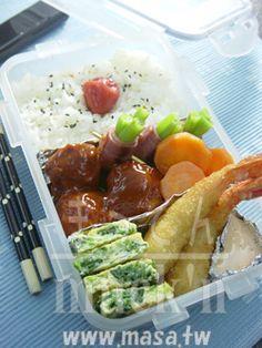 便當食譜-MASAのRAKU-RAKU便當 第二弾! 漢堡球&日式炸蝦便當