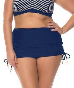 b4941967c1 Jessica Simpson Collection Marine Shirred Skirted Bikini Bottoms - Plus