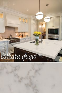 Our newest Q™ Premium Natural Quartz star, Carrara Grigio™, is getting rave . Our newest Q™ Premiu Kitchen Redo, New Kitchen, Kitchen Dining, Kitchen Ideas, Kitchen Layout, Kitchen Tips, Outdoor Kitchen Countertops, Kitchen Counters, Kitchen Counter Tops Quartz