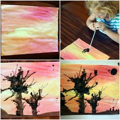5 Fall Crafts for Kids - watercolor and blown ink trees (add spooky details in marker for a fall/Halloween touch!)