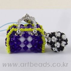 Beaded mini purse and beaded bead PATTERN art beads