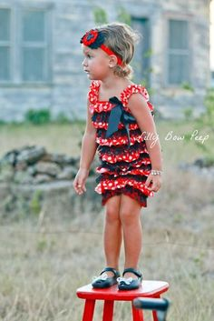 d5b464d17be Red and Black Minnie Lace Ruffle Romper Ruffle Romper