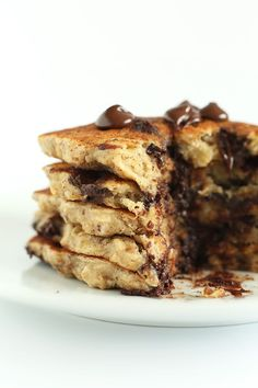 Healthy chocolate chip oatmeal cookie pancakes