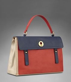 Large YSL Muse Two in Red, Navy, Blue, & Beige Leather
