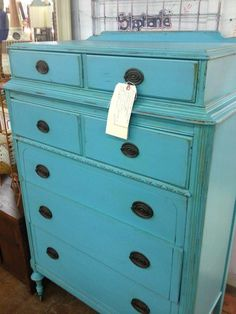 distressed dresser in aqua. this is what we are going to try to do!