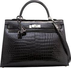 Hermes 35cm Shiny Black Porosus Crocodile Sellier Kelly Bag with Palladium Hardware 2014
